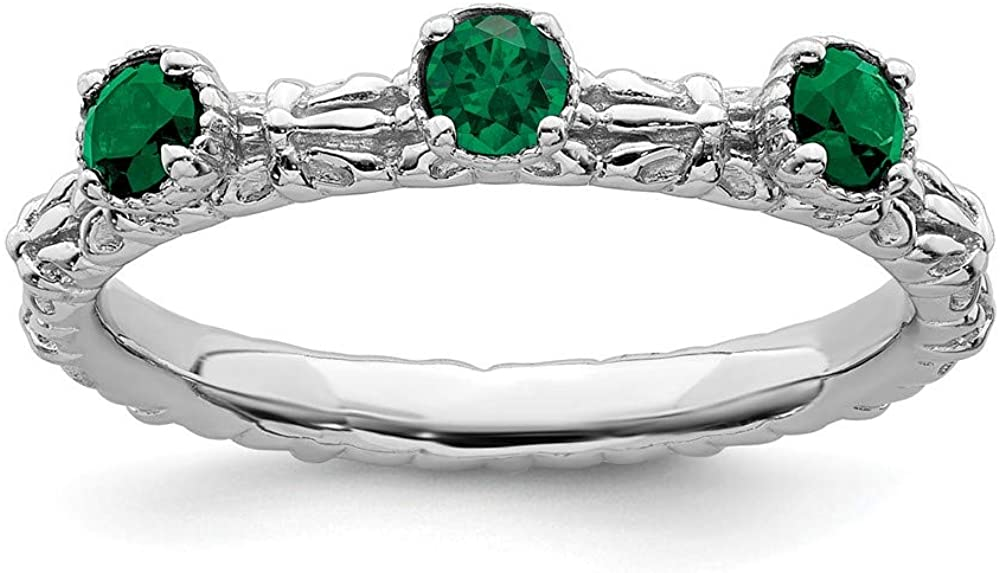FB Jewels Solid Sterling Silver Stackable Expressions Created Emerald Three Stone Ring