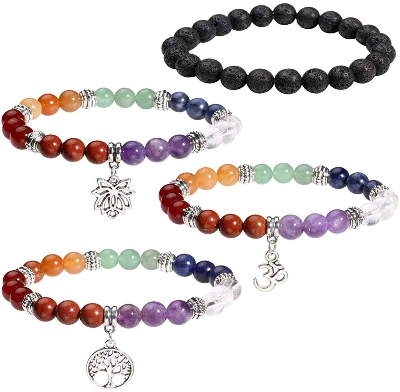 Manfnee Natural Stone Bracelet 7 Chakra Healing Beaded Bangle for Men Women Stretch