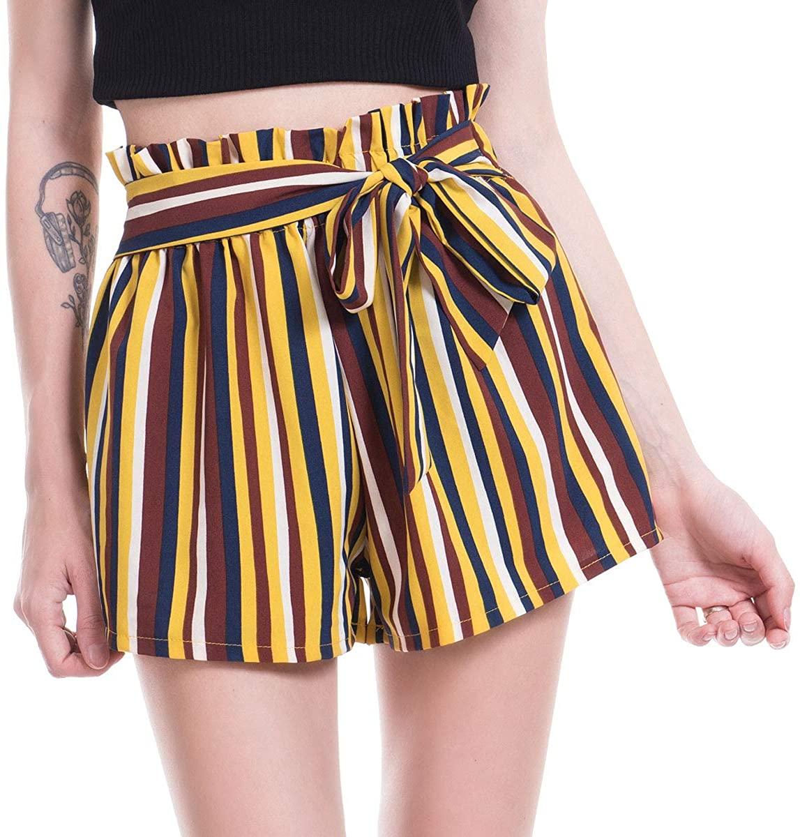 Amormio 🎀 Women's Casual Polka Dot Ruffle Bow-Tie Elastic Waist Summer Beach Jersey Walking Shorts