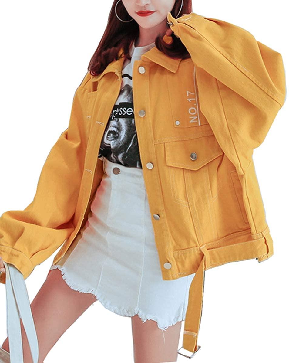 Qinni-shop Women Yellow Purple Pink Loose Fit Denim Jean Hip Hop Jacket