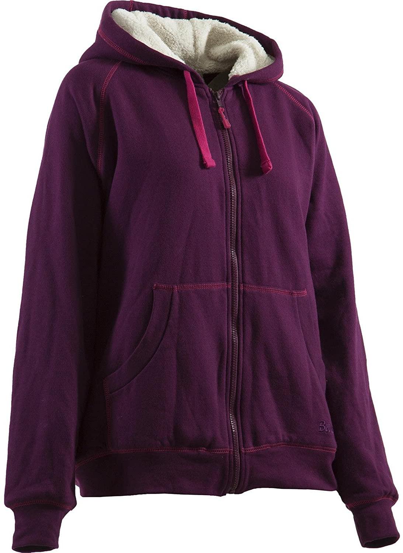 Berne Ladies Zip-Front Hooded Sweatshirt, X-Large Regular, Plum