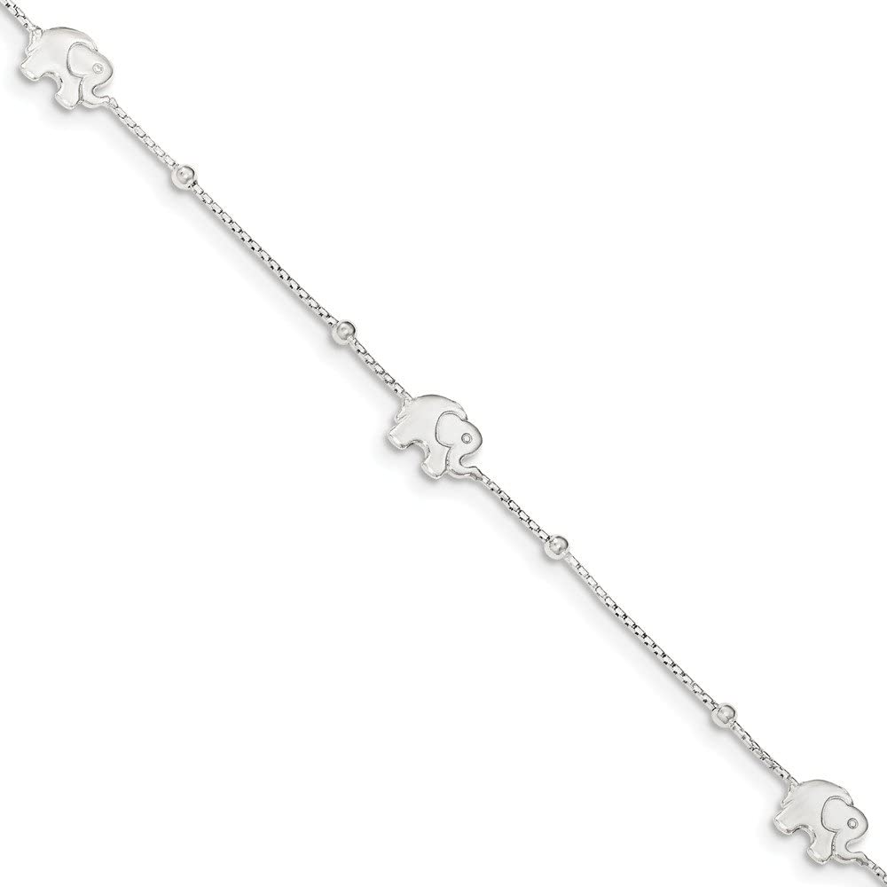 Solid 925 Sterling Silver Polished Elephant with 2in ext. - with Secure Lobster Lock Clasp (8mm)
