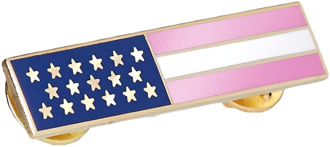 Police Officer Firefighter Pink Stripe American Flag Citation Medal Pin Gold Border Breast Cancer Awareness