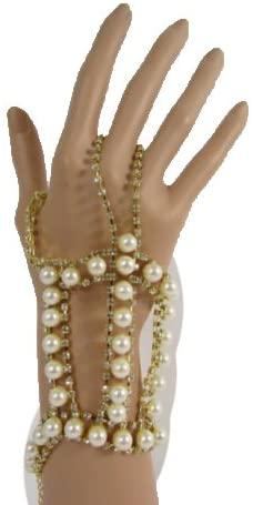 TFJ Women Fashion Jewelry Gold Hand Chain Bracelet Slave Ring Marijuana Multi Cream Pearl Beads Charm