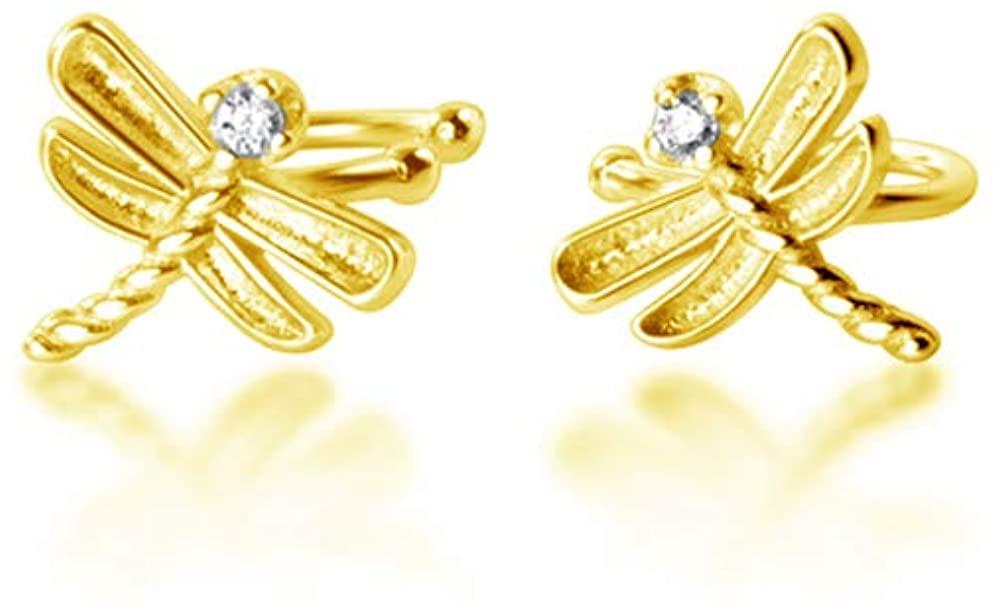 Cute Dragonfly Ear Cuffs Wrap Earrings S925 Sterling Silver Delicate CZ Diamond Stud Wraps Cartilage Earring Piercing Clip On Non Pierced Jewelry for Women Girls Birthday Gifts
