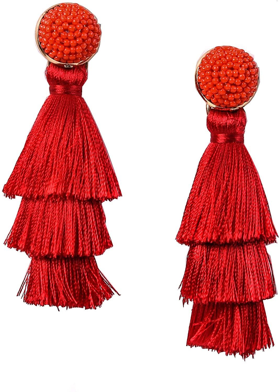 RIVERTREE Womens Layered Tassel Earring Beaded Boho Statement Fringe 3 Tiered Long Vintage Chandelier Drop Dangle Earring Christmas
