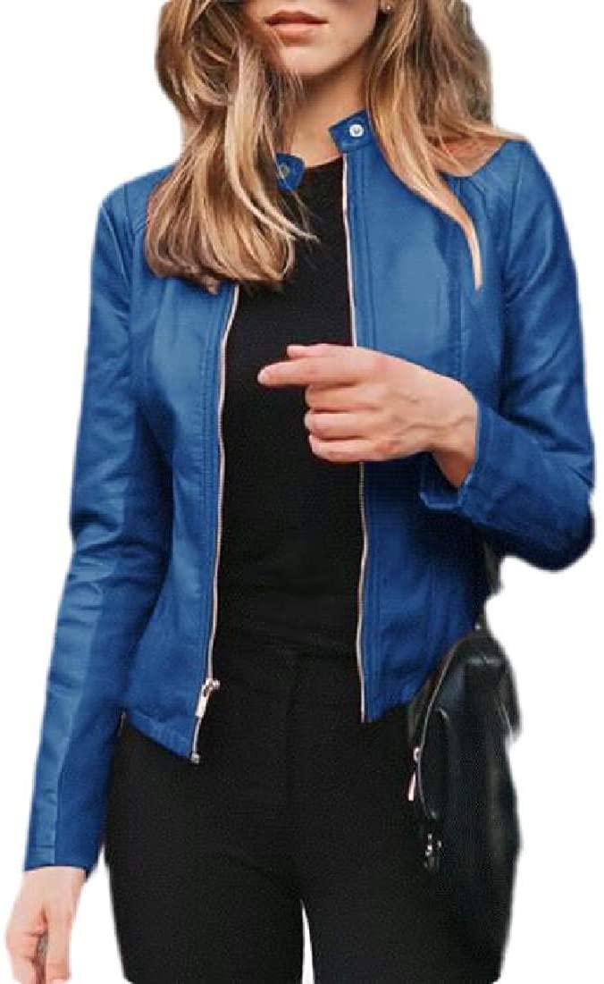 Hajotrawa Womens Zip Front Long Sleeve Short Coat Faux Leather Slim Fit Jacket