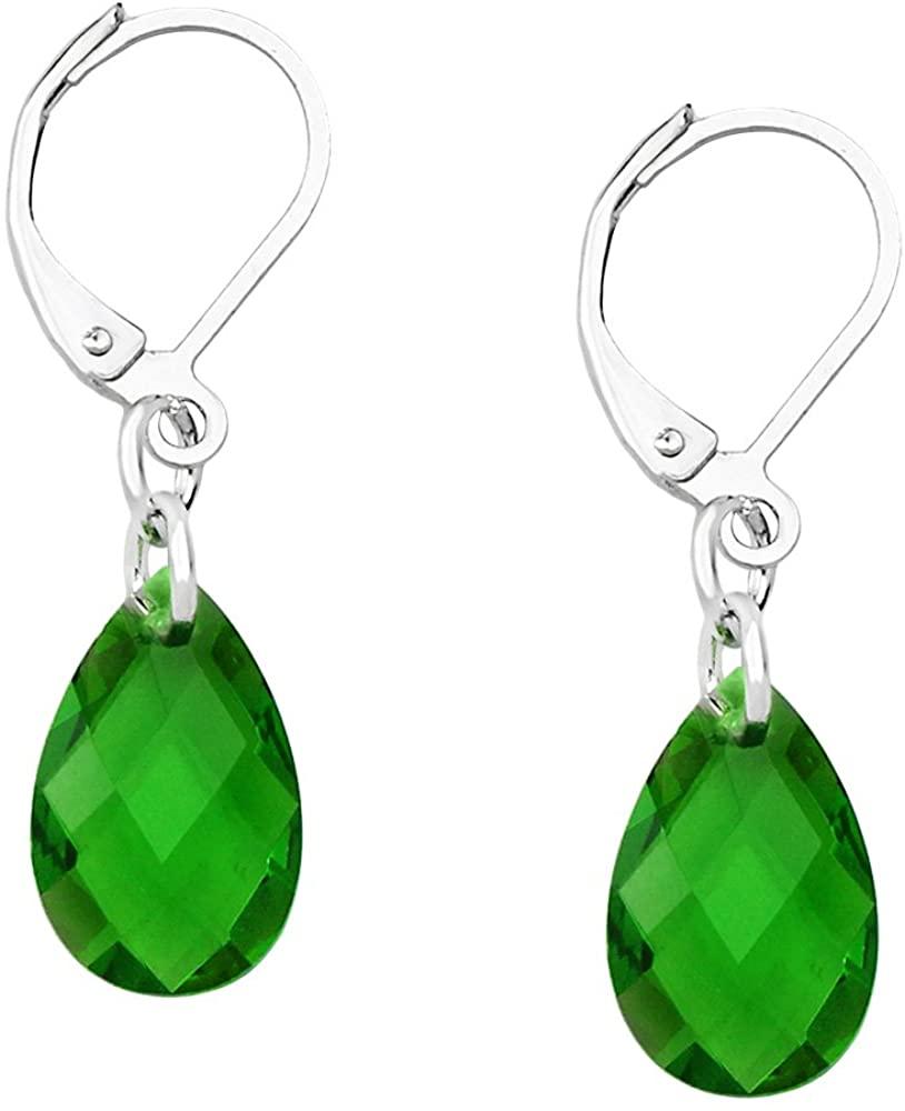 Falari Glass Crystal Earring Leverback High Polished Rhodium