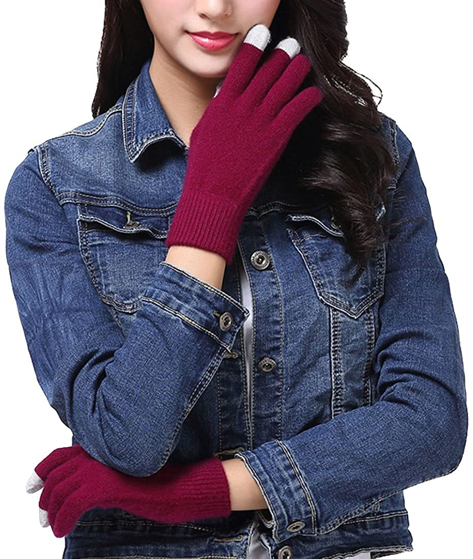LerBen Womens Touch Screen Full Fingers Gloves Mittens Cashmere Hand Warmers Gloves