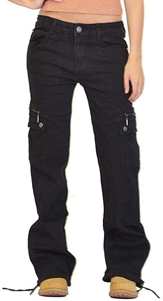 GATOOKO Women Destoryed Flare Jeans Button Wide Leg Denim Cargo Pants Combat Jeans