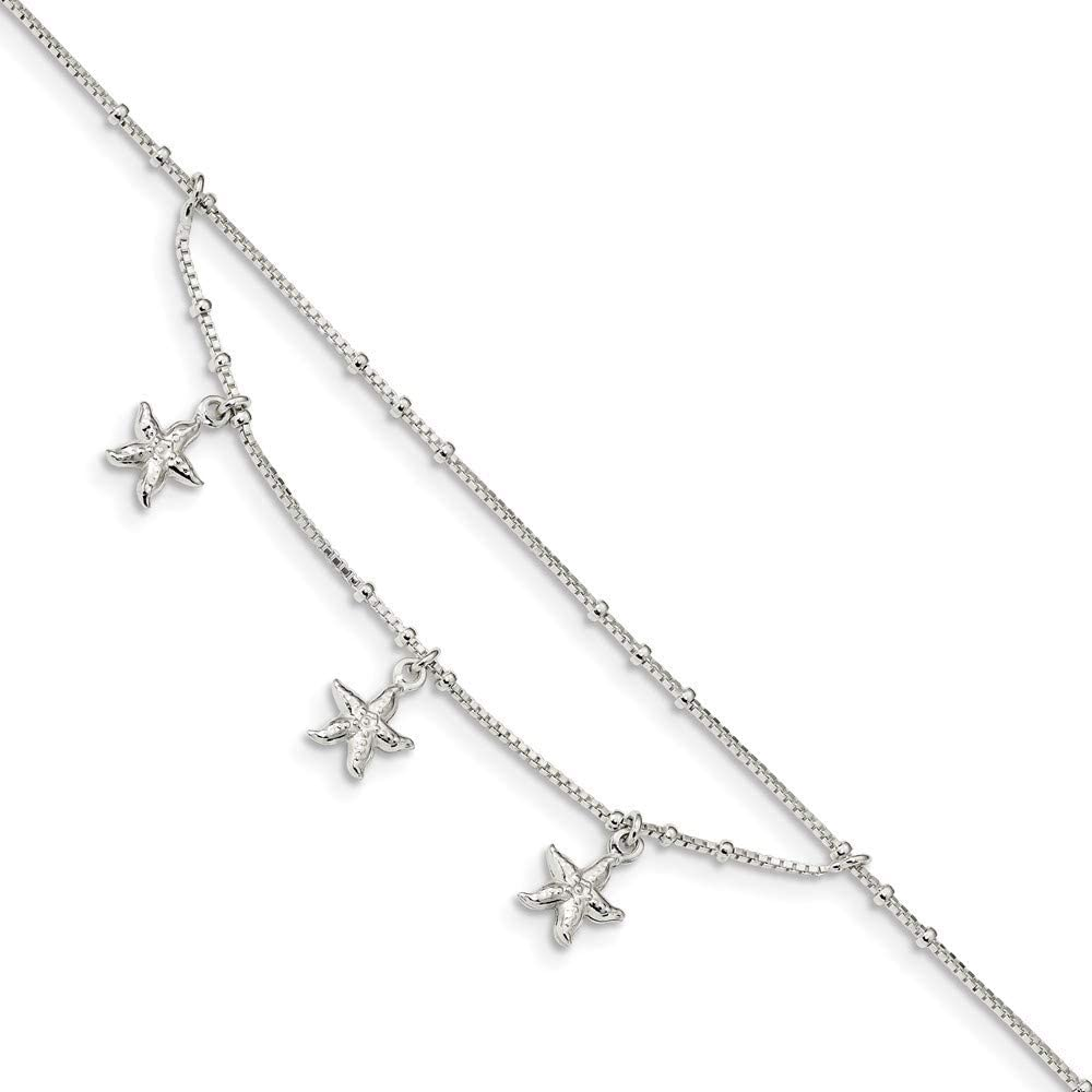 0.8mm 925 Sterling Silver Polished 2 strand Sea shell Nautical Starfish With 1in Ext Anklet 9 Inch Jewelry Gifts for Women
