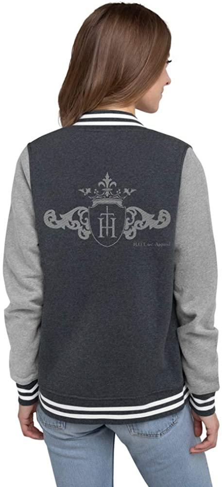 H.O.T. inc. Apparel Original Women's Letterman Jacket Two-Tone Grey Logo