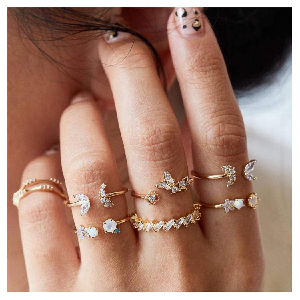 Fstrend Boho Joint Knuckle Rings Set Gold Crystal Butterflie Multi Size Rhinestone Flower Finger Ring Stackable Hand Jewelry for Women and Girls (7PCS)