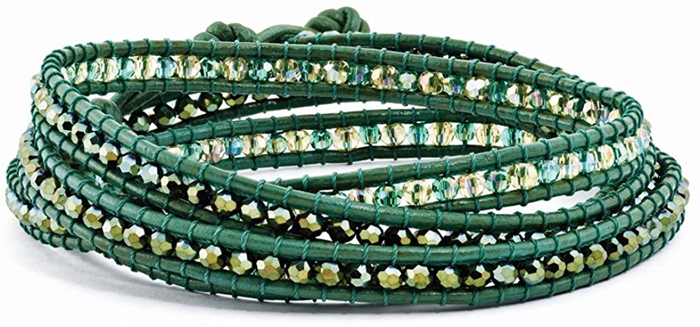 Sonia Jewels Green Leather Green Crystal Beaded Multi Wrap Brass Button Bracelet 34