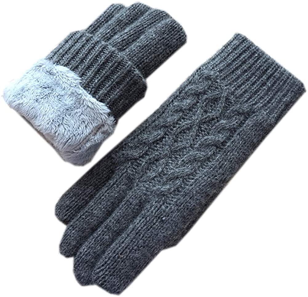 Women Gloves Winter Knitting Wool Thickened Driving Gloves Women Knitted Gloves