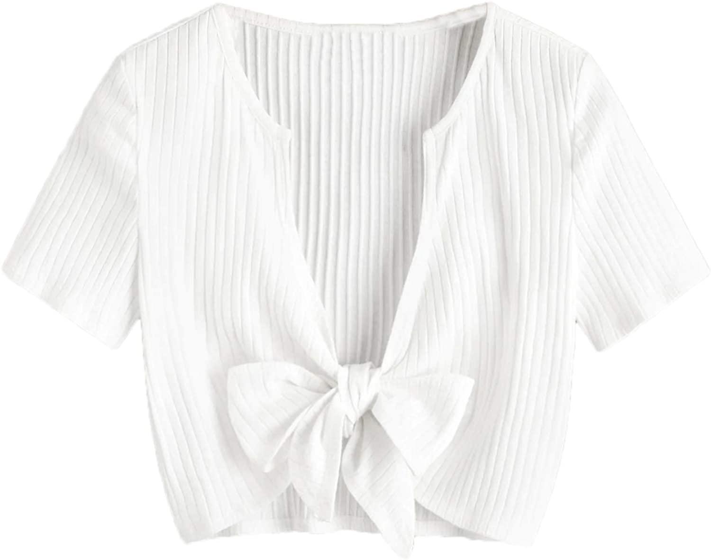 MAKEMECHIC Women's Cute Tie Front Short Sleeve Tops Sexy Deep V Neck Rib Knit Crop Top