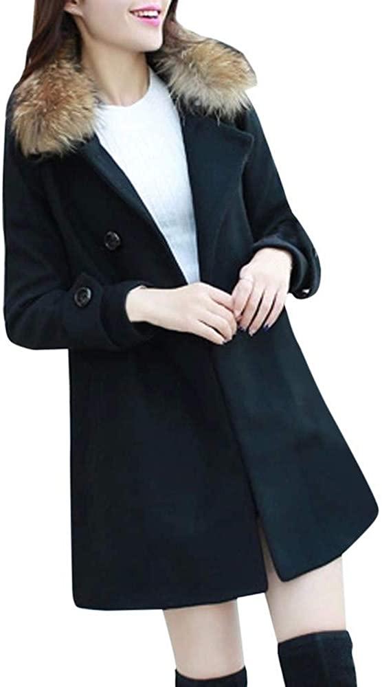 XMOMO Lady Casual Slim Long Turn-Down Fur Collar Trench Coat Parka Clothing Women