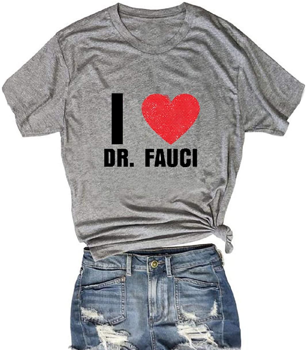 I Love Dr Fauci T Shirts for Women Heart Print Short Sleeve Tops Summer Blouse