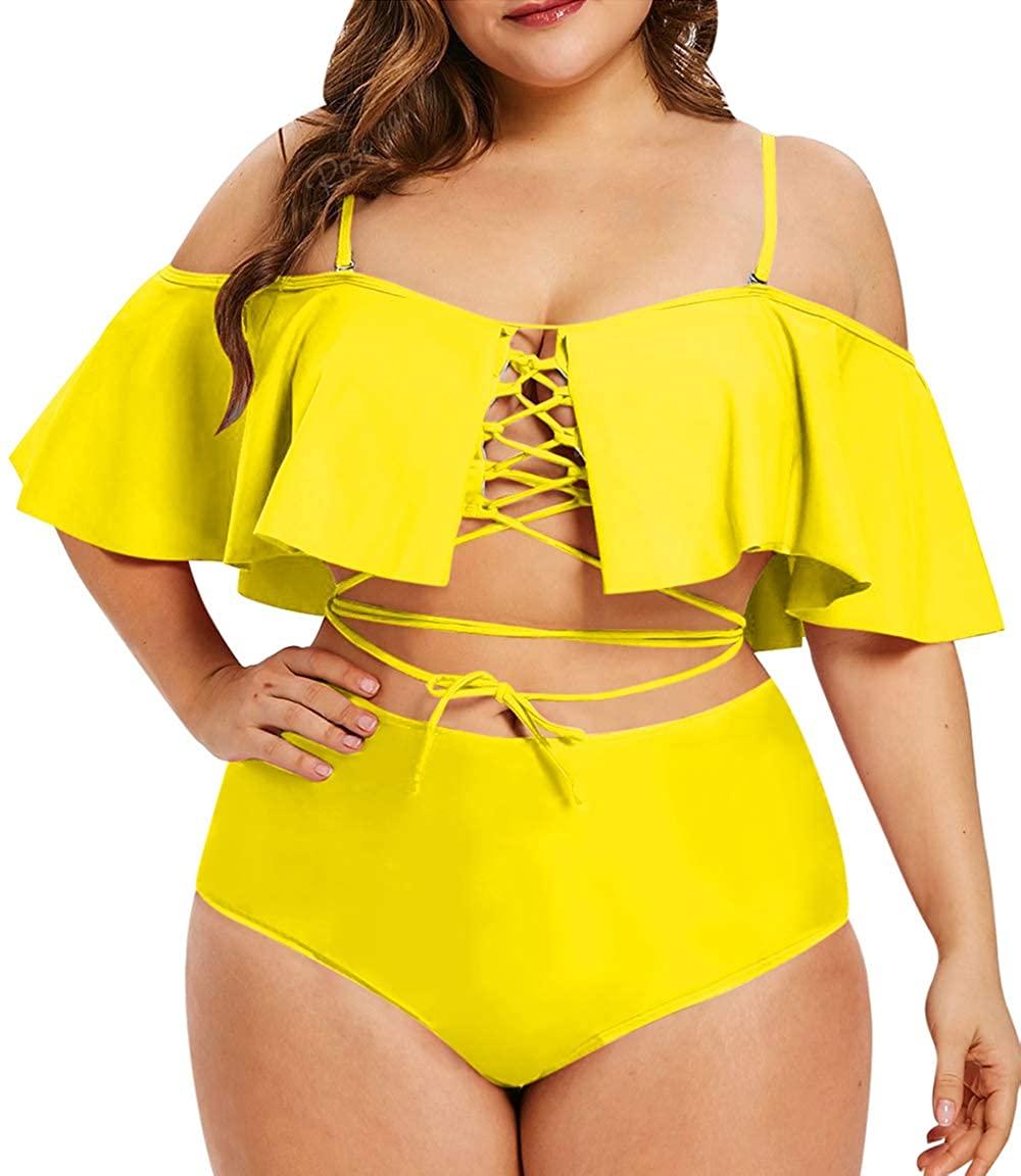 Sovoyontee Womens Plus Size Swimwear Two Piece High Waist Swimsuit Bathing Suits
