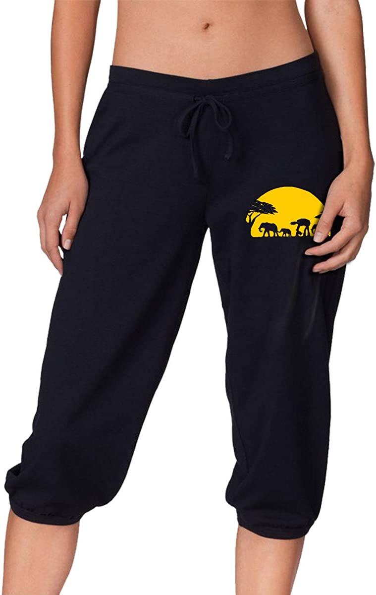 Elephants and Imperial Walker Across African Safari Women's Seven Point Pants Baggy Harem Pants Sweatpants