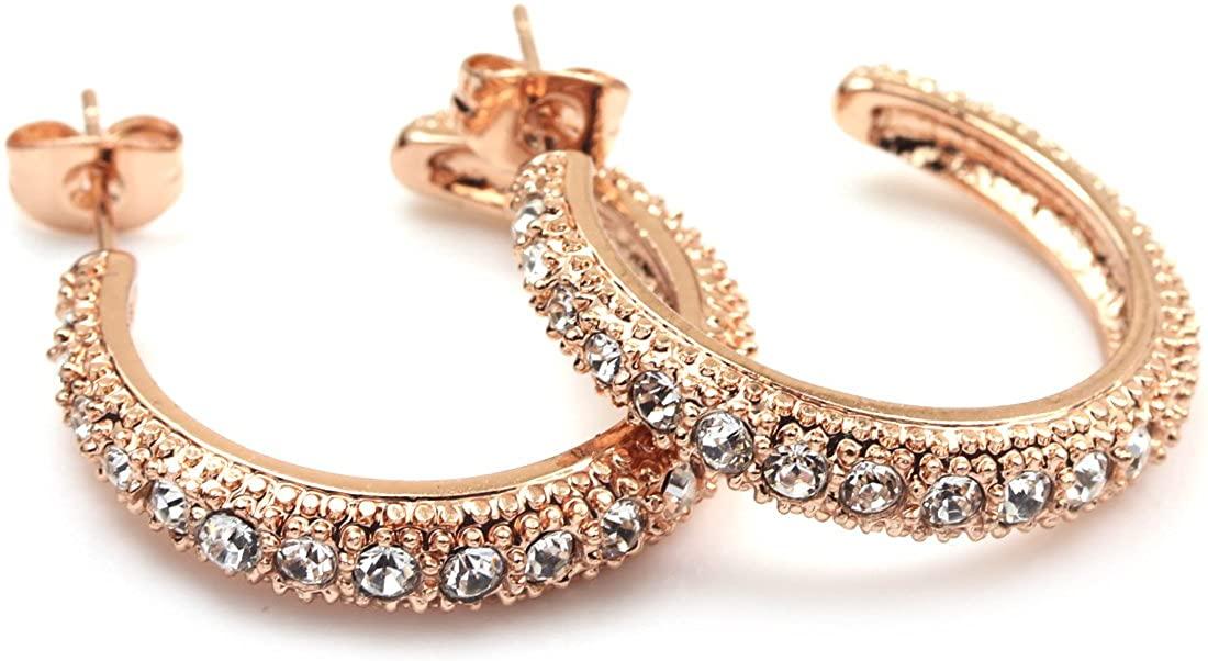 FC JORY White & Rose Gold Plated CZ Cubic Zirconia half Hoop Earrings