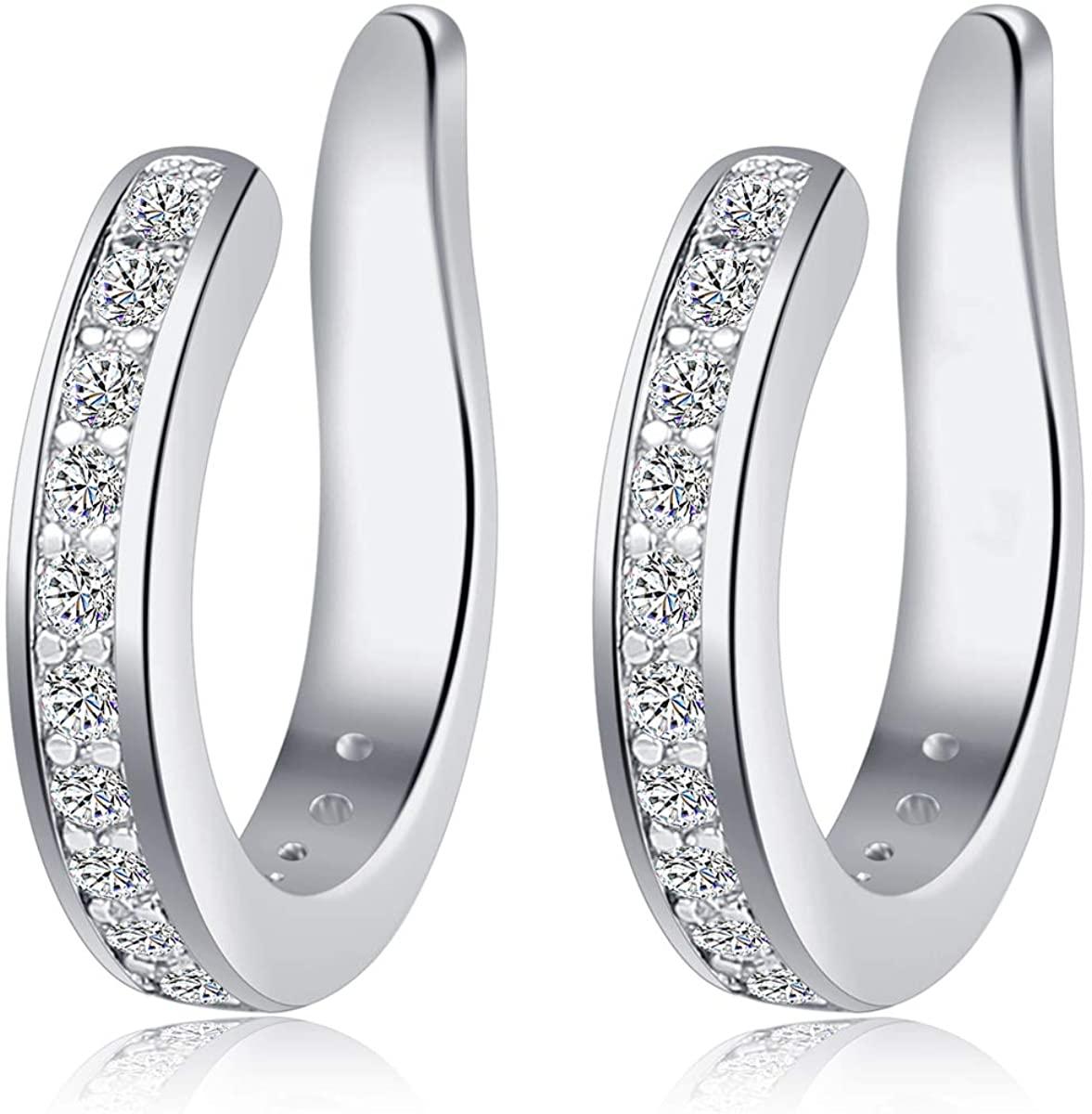 Fomissky Ear Cuffs for Non Pierced Ears Fake Earrings Piercing, Cubic Zirconia Ear Cuff Earrings for Women Cartlidge Helix White Gold Plated