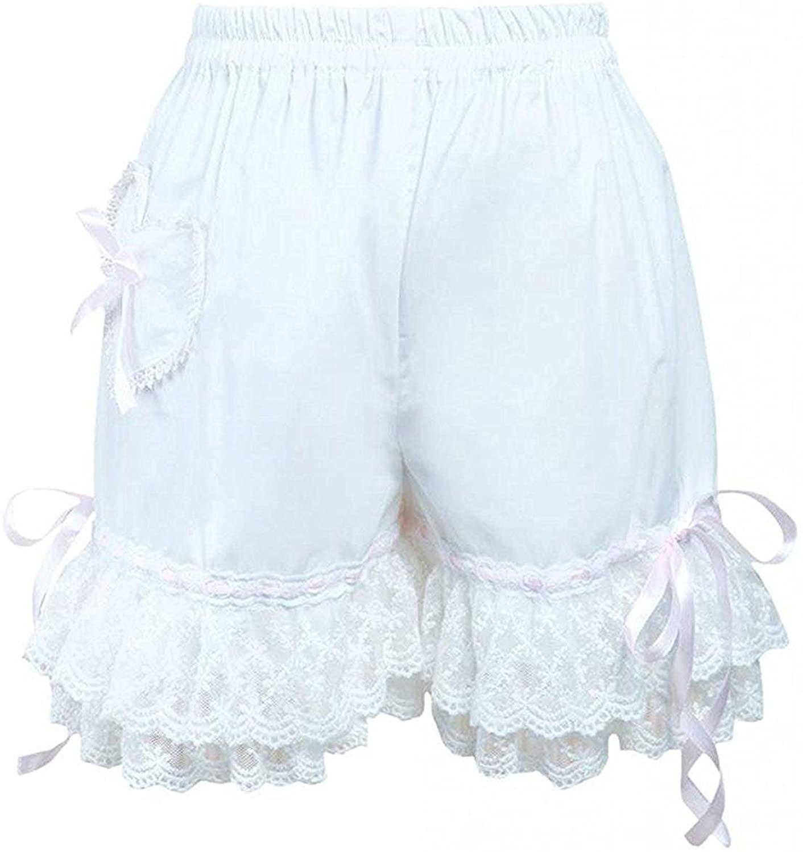 Antaina Blue Sweet Girl's Victorian Lace Ruffles Cotton Pumpkin Shorts Bloomers