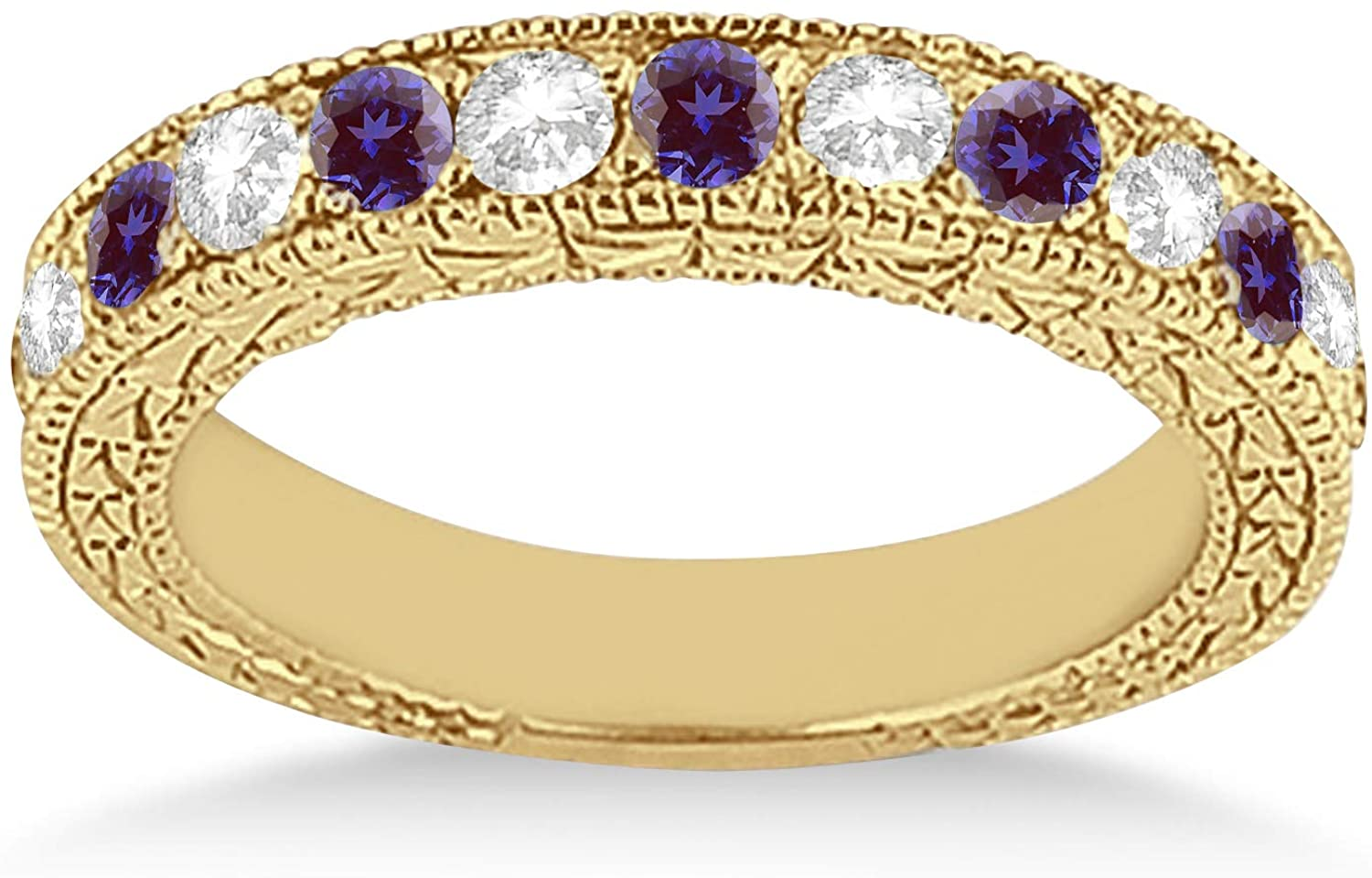 18k Gold Heirloom Diamond and Lab Alexandrite Wedding Ring Band Antique Anniversary Band (1.05ct) GH/VS