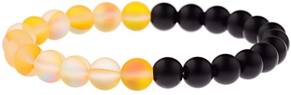 TYT Charm Bracelet Vintage Yellow Glitter Black Stone Beads Bracelet Men Yinyang Prayer Elastic Bracelets for Women,Style 2