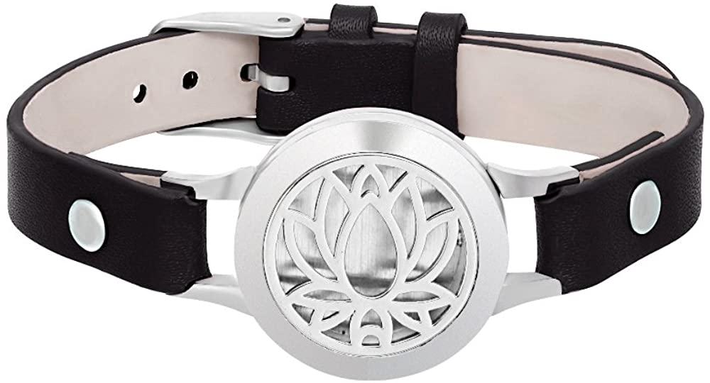 SENFAI Lotus Flower Bracelet Aromatherapy Stainless Steel Locket Bangle Genuine Leather Band