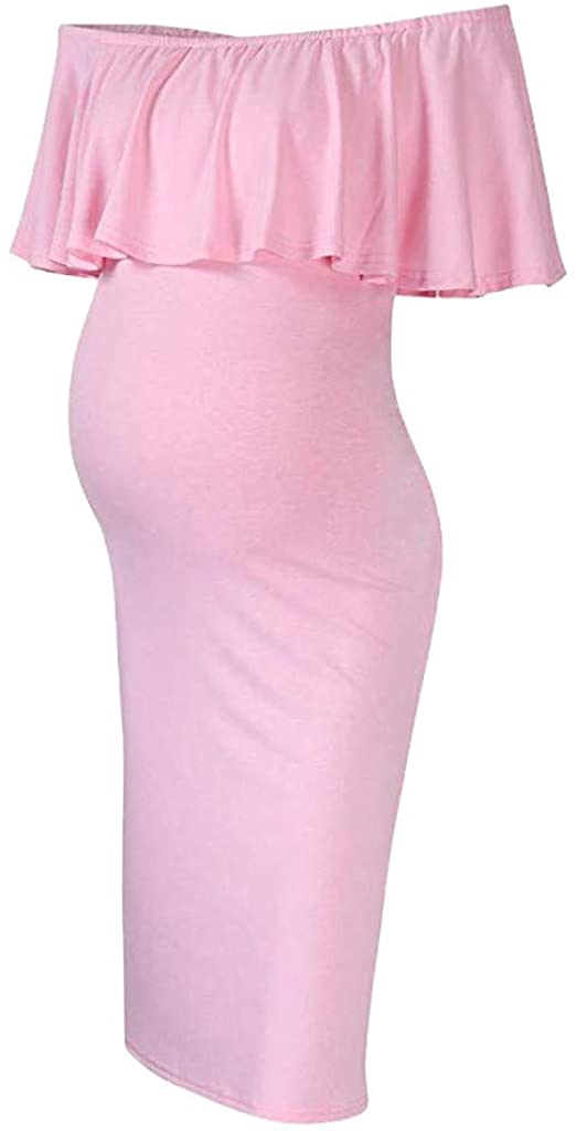 Womens Maternity Off Shoulder Ruffles Dress Mama Photography Slim Fitted Bodycon Gown Dress