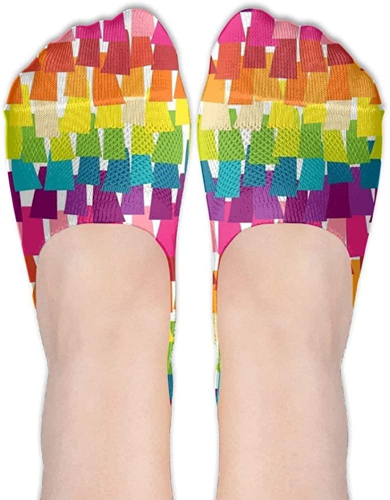 SDHEIJKY Rainbow Pinata Party Womens No Show Socks Nonslip Invisible Socks Low Cut Liner Summer Socks For Flats High Heels