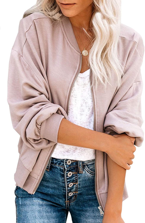 Blibea Womens Casual Short Zipper Lightweight Bomber Jackets Coat Outwear