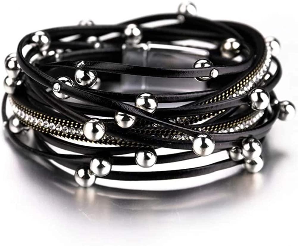 DOOMUUT Multi-Layer Wrap Leather Bracelet Magnet Buckle Handmade Boho Cuff Bracelet Jewelry for Women and Girls Gift