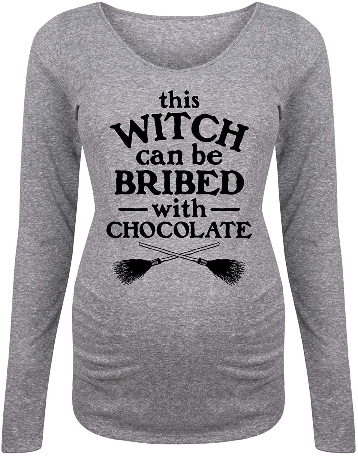 This Witch Can Be Bribed with Chocolate - Maternity Long Sleeve Tee