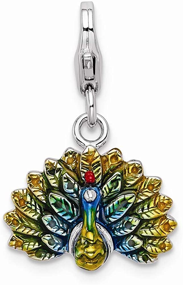 FB Jewels Solid 925 Sterling Silver Enamel Peacock Lobster Clasp Charm