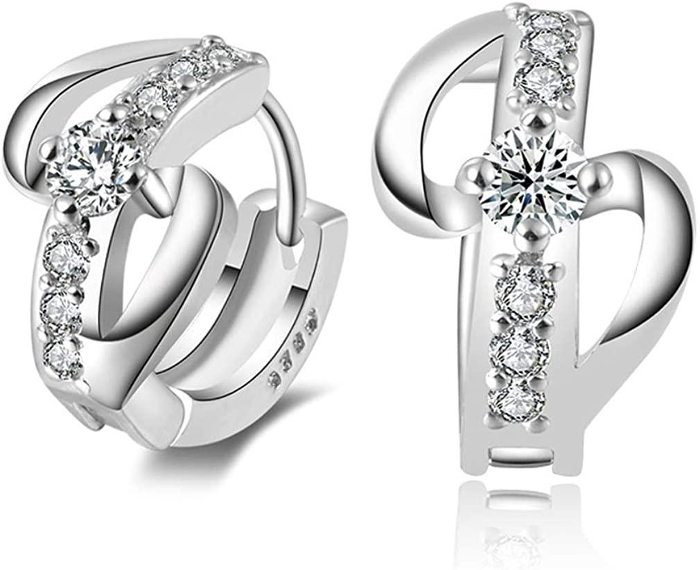 YAZILIND Women Clip On Crystal Earrings Crystal Silver Cross Sparkling Boho Stud Earrings Statement Party Dainty Elegant Jewelry