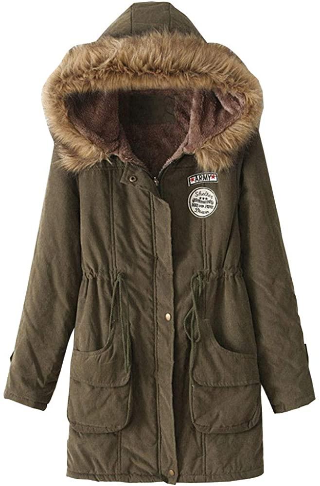 Meijunter Women Hooded Warm Winter Coats with Faux Fur Lined Outwear Jacket