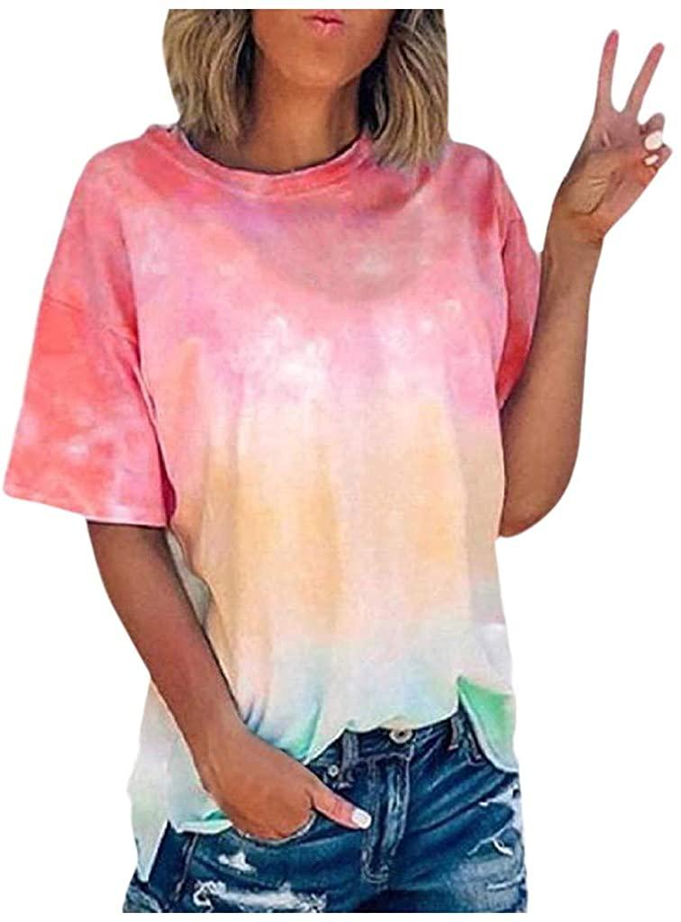 Tie Dye T Shirt Short Sleeve Summer Multi Color Tops Women Crew-Neck Plus-Size T-Shirt Tops