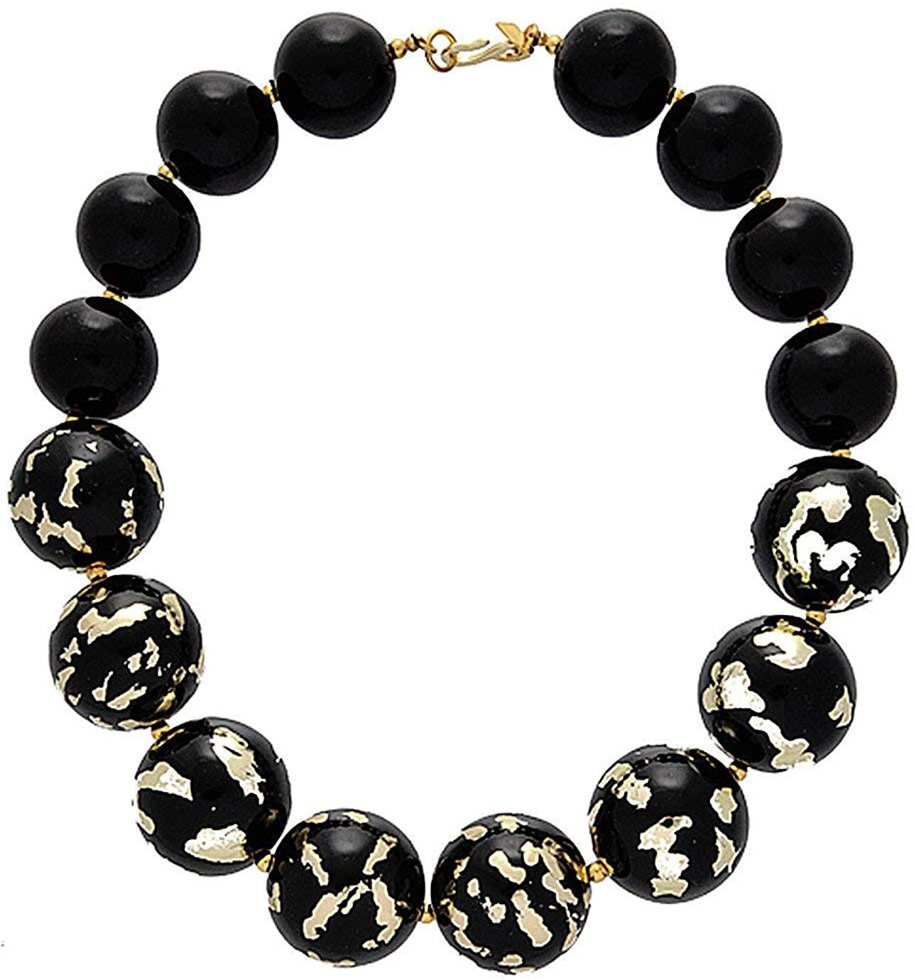 Kenneth Jay Lane Julia Black Scraped Beads Necklace