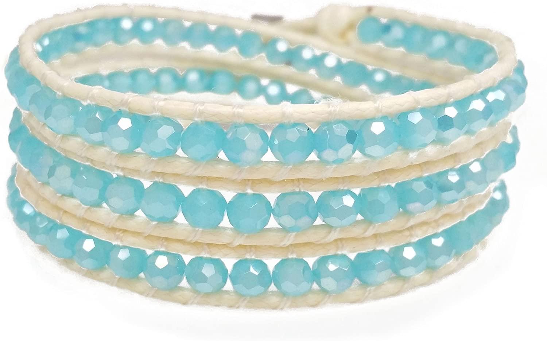 DazzleBlvd Women's Beaded Wrap Handmade Bracelet, Sky Blue Faceted Beads, 3 Wrap Bracelet