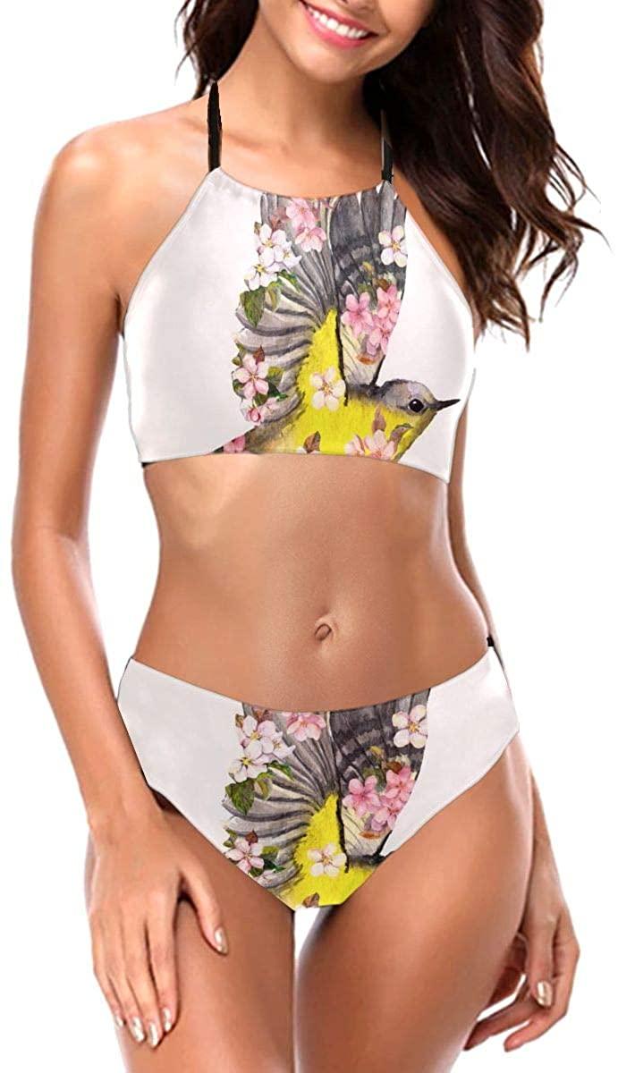 Lianmei Bikini Swimsuit for Women Flying Birds Flowers Watercolor Bikini Two Piece