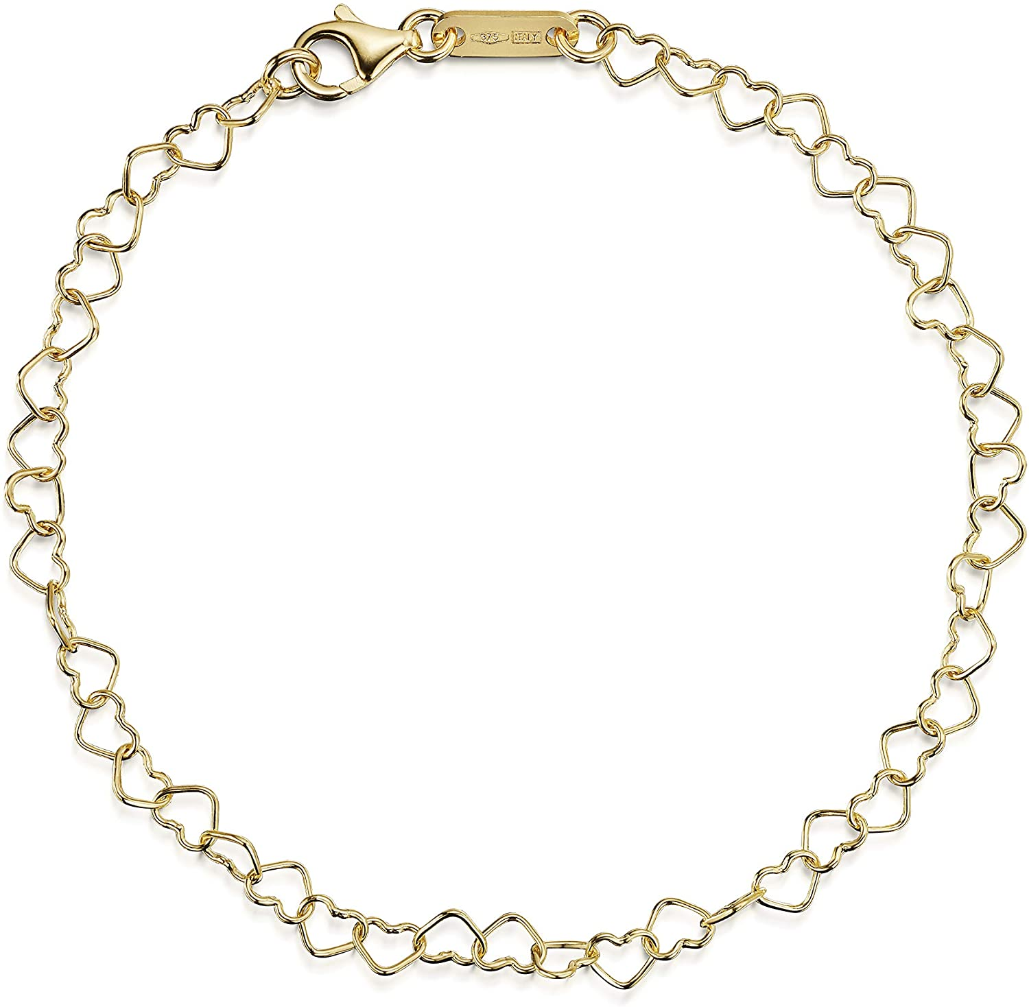Amberta 9ct Genuine 375 Gold - Joined Hearts Chain Bracelet for Women - Various Styles - Adjustable up to 7.5 inch / 19 cm