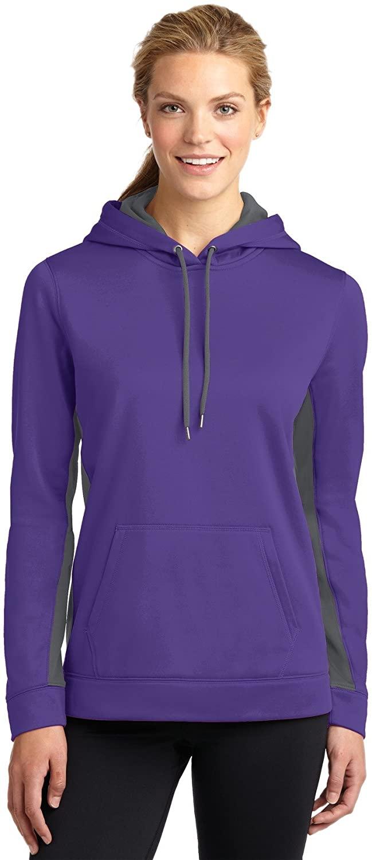 Sport-Tek Ladies Sport-Wick Fleece Colorblock Hooded Pullover. LST235 Purple/ Dark Smoke Grey M