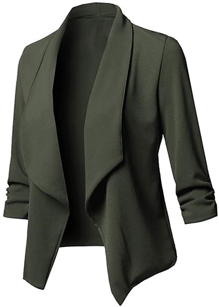 Overcoat for Women Plus Size Fashion Elegant Solid Open Front Cardigan Long Sleeve Blazer Casual Jacket Coat