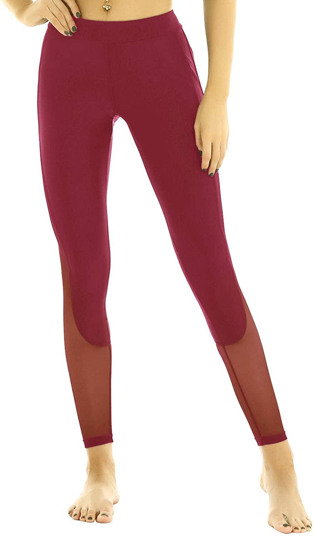 Agoky Yoga Pants Workout Leggings for Women High Waist Mesh Spliced Side Skinny Dance Leggings