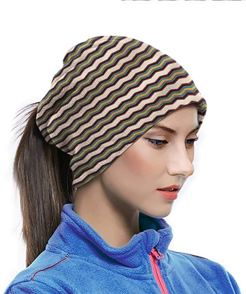 Face Scarf Chevron, Retro Zig Zag Borders Elastic Face Cover Protect You From the Elements 10 x 11.6 Inch