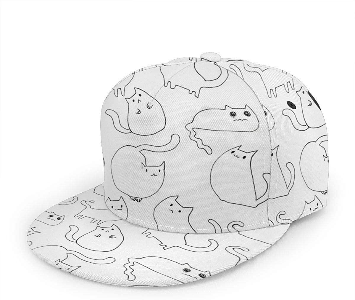 Snapback Hat Kawaii Cats Baseball Cap Flat Brim Sun Visor Hat for Women Men