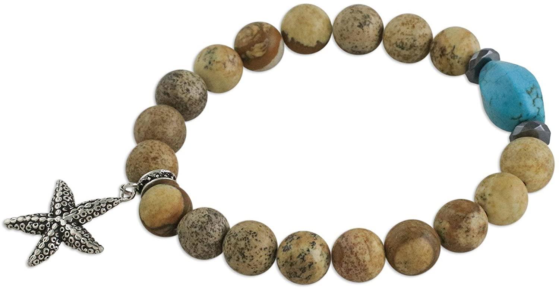 NOVICA Multi-Gem Jasper .925 Sterling Silver Beaded Bracelet, 9.75