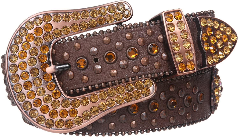 Snap On Western Sunflower Cowgirl Rhinestone Studded Leather Belt